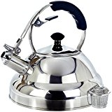 Tea Kettle - Surgical Whistling Stove Top Kettles Teapot with Layered Capsule Bottom, Silicone Handle, Mirror Finish, 2.75 Quart Tea Pot - Tea Maker Infuser Teapots Strainer Included