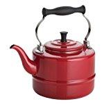 BonJour Tea Enamel-on-Steel Gooseneck Teapot / Teakettle, 2-Quart, Red